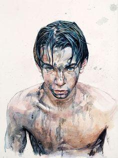 Daniel Barkley Study for Swimmers III 2009 watercolour on paper/aquarelle 23 x 30 cm, x Art And Illustration, Portraits, Portrait Art, Master Of Fine Arts, Art For Art Sake, Gay Art, Traditional Art, Artsy, Drawings