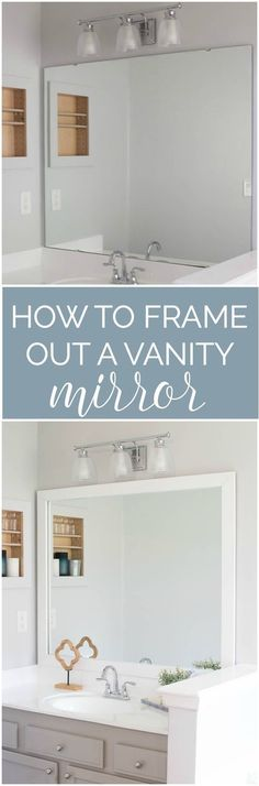This is a cheap upgrade that looks great! How to frame out your vanity mirror - step by step tutorial.