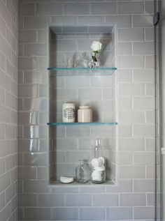 Are the glass shelves in the shower niche 2019 Beautiful serene bathroom! Are the glass shelves in the shower niche The post Beautiful serene bathroom! Are the glass shelves in the shower niche 2019 appeared first on Shower Diy. Bathroom Lighting, Trendy Bathroom, Bathroom Niche, Serene Bathroom, Contemporary Master Bathroom, Shower Niche, Tiny Bathroom, Shower Shelves, Bathrooms Remodel