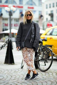 chunky knit, lace & kicks. Lucy in London. #FashionMeNow