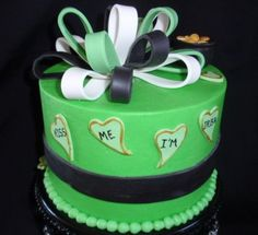 """St. Patricks' Day Small 6"""" marguarita cake, buttercream filling, torted, and fondant accents. Done as a gift for a friend."""