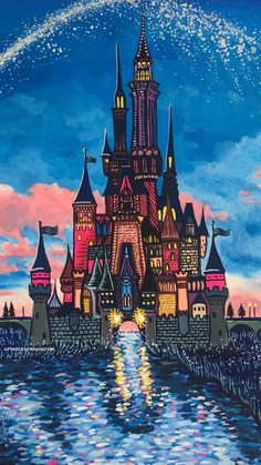 Original painting was created with gouache on watercolor paper, & then prints were made. Perfect wall decor for any nostalgic Disney fan Disney Castle Drawing, Disney Drawings, Disney Canvas Art, Disney Art, Walt Disney, Disney World Castle, Kunstjournal Inspiration, Castle Painting, Disney Paintings