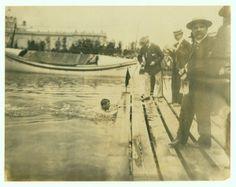 E. Rausche of Germany winning One Mile Swimming Championship, 1904 Olympics.