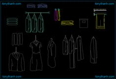 Clothes hanger autocad drawing, clothes hanging cad block sample