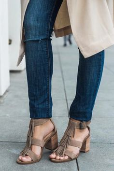Taupe suede sandals with soft fringe & chunky stacked heels