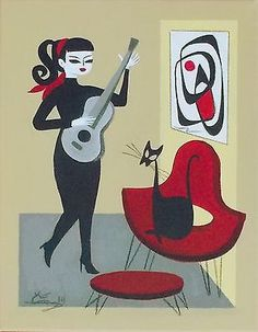 EL GATO GOMEZ PAINTING RETRO GUITAR MOD 1950S 60S BEANIK CAT MID CENTURY MODERN