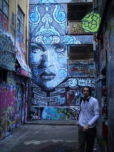 in Hosier Lane - This is a couple of alleys in downtown Melbourne which are dedicated to the best graffiti in the city. (July 2013) - Artist ??