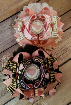 Valentine Over the Top Hair Bow, I can be sweet but sometimes I'm just a tart, big bow, ott, stacked boutique bow, usdr, us designer ribbon by JJsBowsTuTusAndMore on Etsy