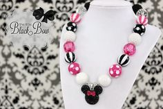 For Disney Trip or Minnie Mouse Party outfit! MINNIE MOUSE Inspired Chunky Necklace Hot Pink, White & Black Beads Child, Toddler or Baby Size Bubblegum Gumball Girls Beaded Necklace