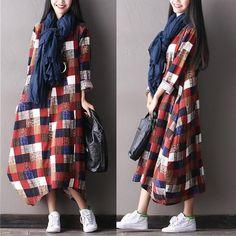 Draps en coton ample robe à manches longues