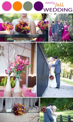 bright fall color palette with orange, pink, purple, and mossy green. perfect for an october wedding late-fall-wedding-palette