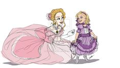 """Cinder's First Ball by Qballthe5th.deviantart.com on @deviantART - Cinderella from """"Cinderella"""" with her mother (an OC), getting ready for a ball together. Which I think is just too cute :)"""