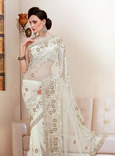 Off White faux georgette Indian fashion saree with blouse D15250