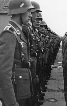 German soldiers lined up in uniform