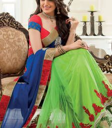 Parrot green georgette & net combo thread & zari worked saree
