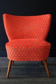 Fauteuil velours orange 1950 vintage Bartholomew Upcycled 1950s Bartolomew Cocktail Chair - Citrus Orange Underground Velvet