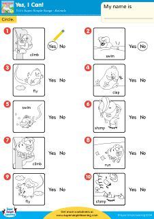 """Yes, I Can"" Yes Or No? Worksheet from Super Simple Learning. #Kindergarten #earlyelementary #ESL"