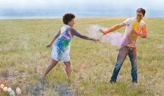 Engagement Photo Session featuring eco-friendly paint fight! http://thingsfestive.blogspot.com/2012/08/engagement-photo-session-in-colorado.html