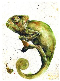 """Chameleon"" Painting by Luca Bergeretti Cavion buy now as poster, art print and greeting card.."