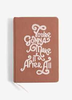 Gonna Make It Medium Embroidered Cotton Journal Cool Journals, Crewel Embroidery Kits, Ribbon Bookmarks, Take My Money, Lined Page, Make It Through, Crushed Velvet, Fabric Covered, Grosgrain Ribbon