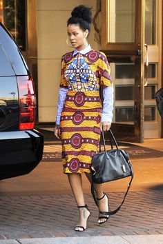 Celebs with best street style and how to get their look African Inspired Fashion, African Print Fashion, Africa Fashion, Fashion Prints, Fashion Patterns, African Prints, African Attire, African Wear, African Dress