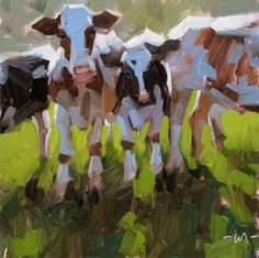 'Cozy Cows' painting by Carol Marine (USA).  -kc