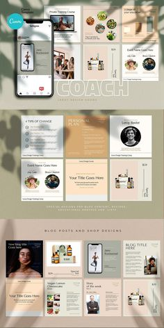 COACH - Canva Instagram Template  Instagram Canva Template for coaches, teachers, food bloggers, podcasters, personal trainers, nutrition experts and entrepreneurs. Featuring eye-candy minimalistic template designs to get your audience and sell your digital offers and courses. Coach Instagram, Instagram Feed, Instagram Posts, Being Used Quotes, Branding Template, Cosmetic Shop, Checklist Template, Instagram Design, Brand Building
