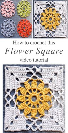 crocheted flowers This free video tutorial will show you how to make a classic crochet flower granny square. Keep reading the article for additional creative granny square crochet id Motifs Granny Square, Flower Granny Square, Granny Square Crochet Pattern, Crochet Flower Patterns, Crochet Squares, Crochet Blanket Patterns, Crochet Designs, Crochet Flowers, Crochet Stitches