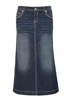 I've been looking for denim skirts like this for church. Can't ...