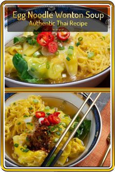 This easy wonton noodle soup recipe can be made with just broth and wonton or load it up for a full quick meal. Easy to freeze for a quick instant dinner! Egg Noodle Soup Recipe, Wonton Noodle Soup, Wonton Noodles, Egg Noodles, Spicy Chicken Recipes, Soup Recipes, Dinner Recipes, Easy Recipes, Soup Appetizers
