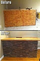 Faux paneled stone. Basement bar area