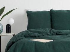 Brisa Linen Pair of Pillowcases, Peacock Green UK Soft Furnishings, Floor Chair, Peacock, Bean Bag Chair, Pillow Cases, Modern, Cushions, Bedroom, Green