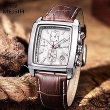 2016 New Men's Quartz Watch Men Leather Top Brand MEGIR Three real dial sports fashion Relojes Masculino Wrist watches men Dress(China (Mainland))