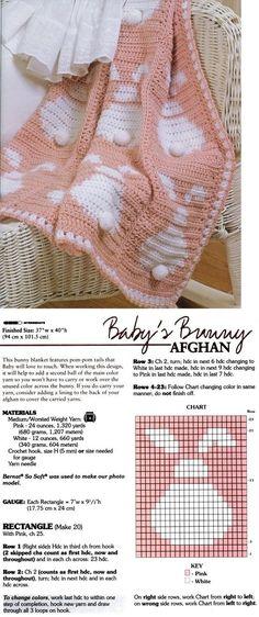 baby bunny free crochet afghan pattern by monika.zajac.5070, #haken, gratis patroon (Engels), baby, blok, konijn, deken, kraamcadeau, #haakpatroon