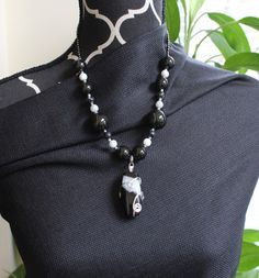 "Black and white big beaded necklace with deco enhanced pendant - 12"" L"
