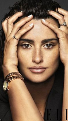 Penelope Cruz, woman, female, celeb, hands, face, portrait, brown eyes, beauty, intense, jewelry, watch, photograph, photo