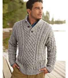 Heritage Sweater, Irish Fisherman's Button-Mock: Henleys and Zip-Necks Polo Sweater, Cable Knit Sweaters, Men Sweater, Hand Knitted Sweaters, Sweater Knitting Patterns, Irish Sweaters, Handgestrickte Pullover, Ll Bean Men, Gentleman Style