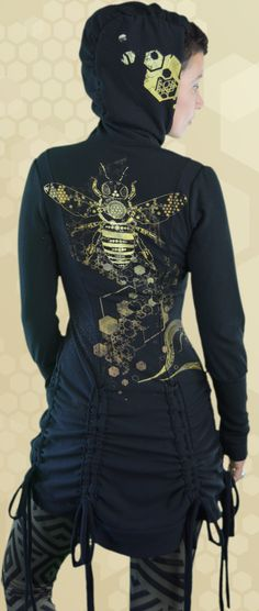 Bamboo Bustle Jacket for women, ethical fashion made in Canada. Printed with sacred geometry, bee, bees, hive medicine art. Ethical Fashion, Womens Fashion, Hemp Fabric, Sustainable Clothing, Bustle, Hoodies, Sweatshirts, Trees To Plant, Organic Cotton
