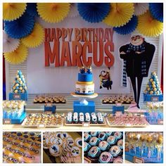 Minion lovers would definitely love a Despicable Me themed birthday party. Awesome dessert buffet by Cuppy Puppy Bakehouse Minion Party Theme, Despicable Me Party, Minion Birthday, 6th Birthday Parties, Birthday Fun, Birthday Ideas, Party Planning, First Birthdays, Party Time