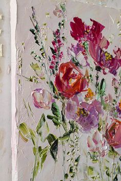 Floral Oil Painting Original On Canvas, Pink Flower Living Room Wall Art Dine Room Wall Décor Impasto Abstract Canvas Oversize Eclectic Acrylic Flowers, Abstract Flowers, Pink Flowers, Painted Flowers, Acrylic Painting Canvas, Abstract Canvas, Painting Prints, Thumb Painting, Knife Painting