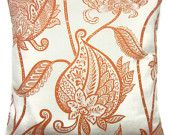 Two Tangerine Orange White Pillow Covers Decorative Modern Paisley Leaf Design 16 inch