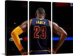 90c6051873c LeBron James of the Cleveland Cavaliers stands on the court and on a three  panel (. Great Big Canvas