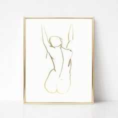 Black and White Nude Figure. Figure Drawing Female, Female Art, Figure Drawings, Minimal Drawings, Woman Drawing, Gold Print, Line Drawing, Drawing Ideas, Minimalist Art