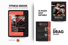 Fitness ebook + Meal Planner by rivatxfz Microsoft Powerpoint, Powerpoint Presentation Templates, Self Publishing, Letter Size, Design Bundles, Brochure Design, Ebooks, Lettering, Meal Planner