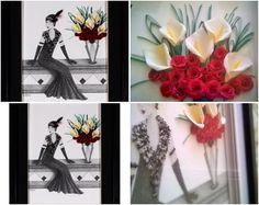 """Lily""... Original Pencil Drawn and Quilled 3D Artwork by QuillArtuk. www.quillartuk.etsy.com  #giftforher  #uniquepencilart  #originalartwork #christmasgiftideas #ladiesgiftideas"