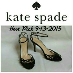 Kate Spade Black Leather  Dress Sandals Black lattice or filigree look ankle strap shoes. Heel is approx. 3 inches. Only worn a few times...like new. kate spade Shoes Sandals