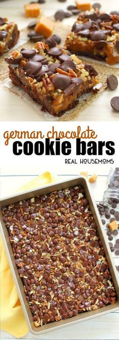 Made with a simple cake mix crust, and topped with all the goodies, these German Chocolate Cookie Bars are perfect when you want a decadent, sweet treat! via @realhousemoms