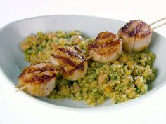 Grilled Scallops with Orange-Scented Quinoa from FoodNetwork.com