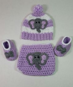 Soft Purple Elephant Diaper Cover Gift Set / Elephant Baby Gift Set / Baby Shower Gift For Girl / Elephant Theme Baby Shower Gift Set Elephant Applique, Crochet Elephant, Crochet Baby, Purple Elephant, Elephant Baby, Crochet Beanie Pattern, Crochet Blanket Patterns, Baby Girl Shower Themes, Baby Shower Gifts