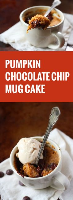 You're three mintues away from this decadent, chocolate chip studded, vegan vanilla ice cream topped, single-serving pumpkin mug cake.